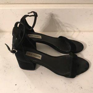 Black suede Steve Madden heeled sandals